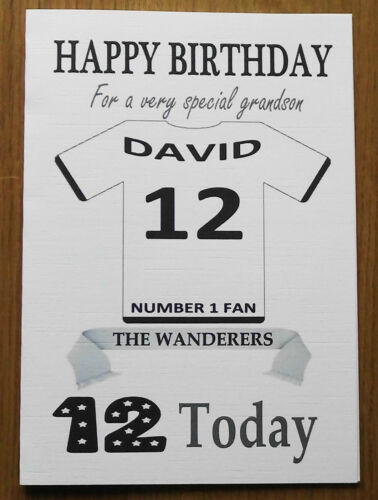 """BOLTON FAN Unofficial PERSONALISED Football Birthday Card /""""THE WANDERERS/"""""""