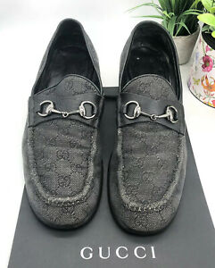 Gucci-Authentic-90s-GG-Logo-Vintage-Black-Horsebit-Loafers-Mens-12-5-US-12-5-13