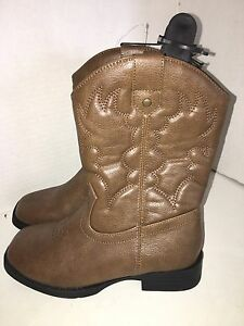 Faded-Glory-Youth-Size-2-Children-039-s-Brown-Stitching-Cowboy-Western-Boots-NWT