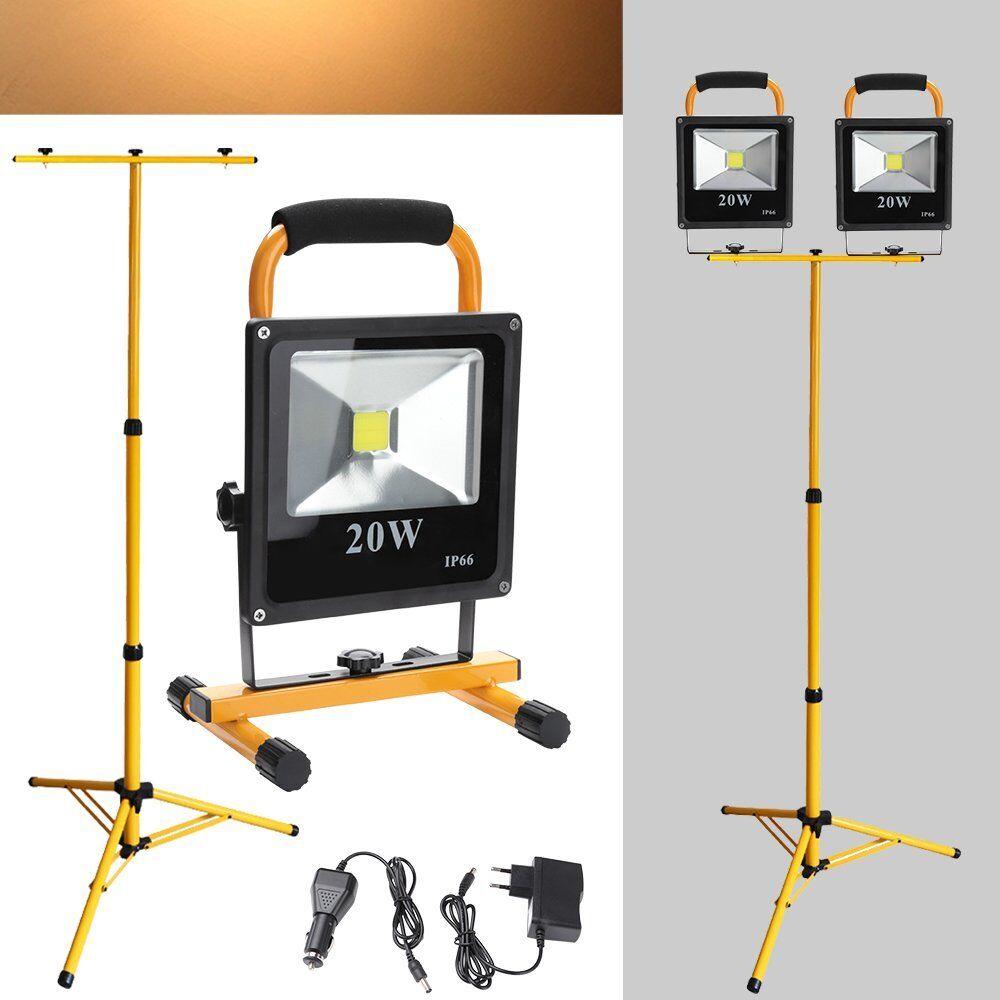 2X 20W LED Flutlicht mit Stativ Baustrahler Scheinwerfer AKKU Handlampe Warmweiß     | Schönes Design  | Nutzen Sie Materialien voll aus  | Clearance Sale