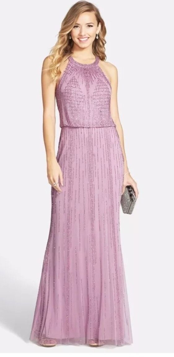 NWT Adrianna Papell Halter Blouson Geometric Gown Dress, Icy purplec, Size 2