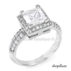 Objective 2.75 Ct Halo Princess Cut Cz Sterling Silver Engagement Ring Women's Size 4-11 Engagement & Wedding
