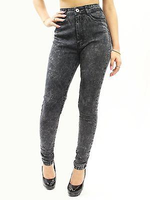 New Sexy Acid Wash High Waist Skinny Leg Jeans Junior's Size 1-21 RDF0314