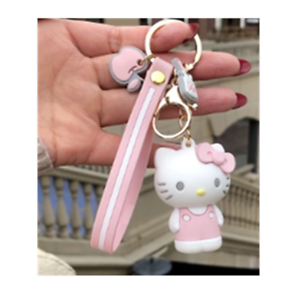 Hello-Kitty-pink-key-chain-ring-pendant-birthday-gift-E-keychain-strap-new