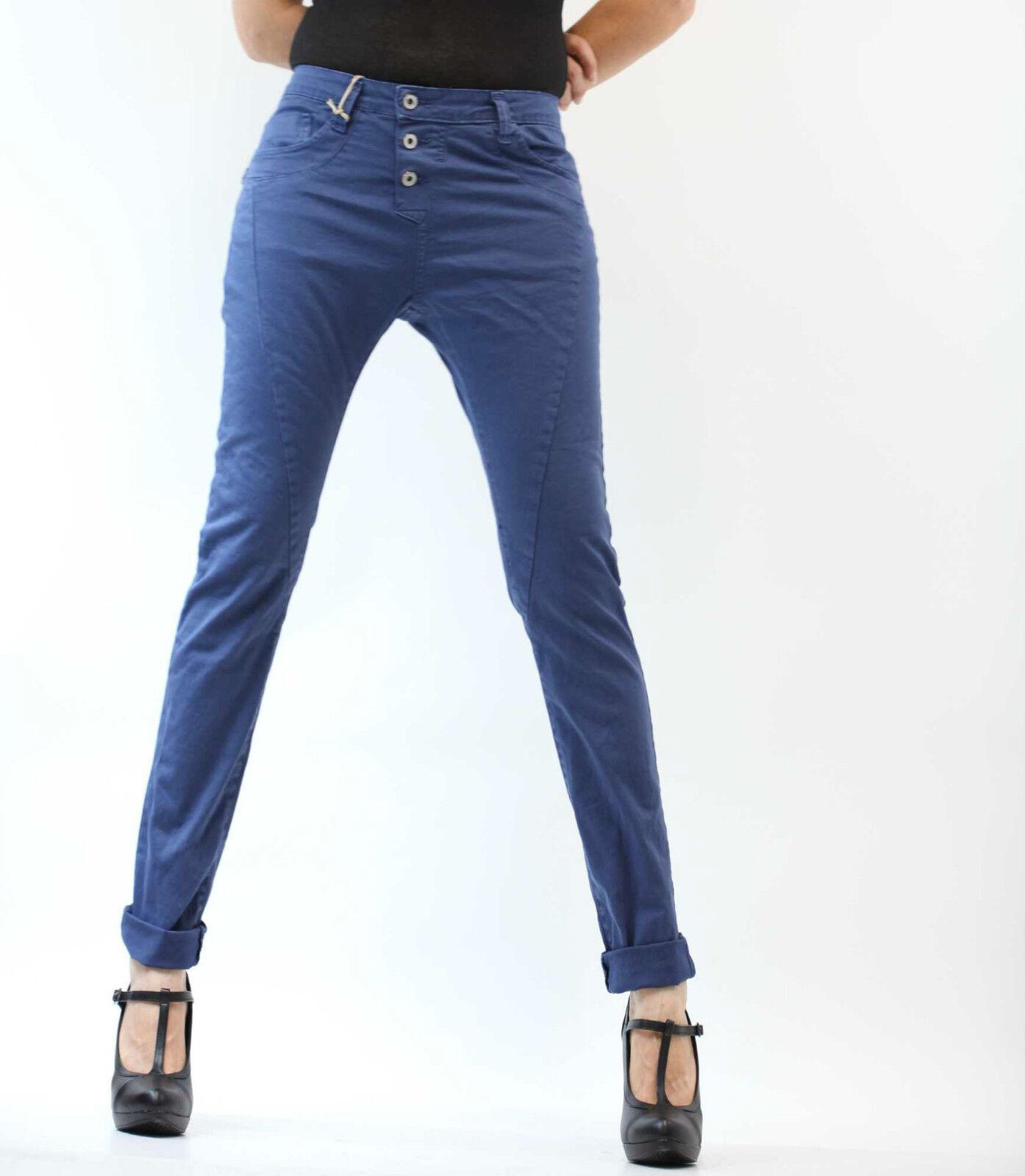 PLEASE Jeans P78ADT6TD boyfriend damen Baggy cavallo lungo 3 bottoni -Blu Persia