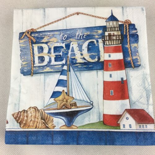 5  x  Paper Party Napkins  for Decoupage To The Beach Napkin Art