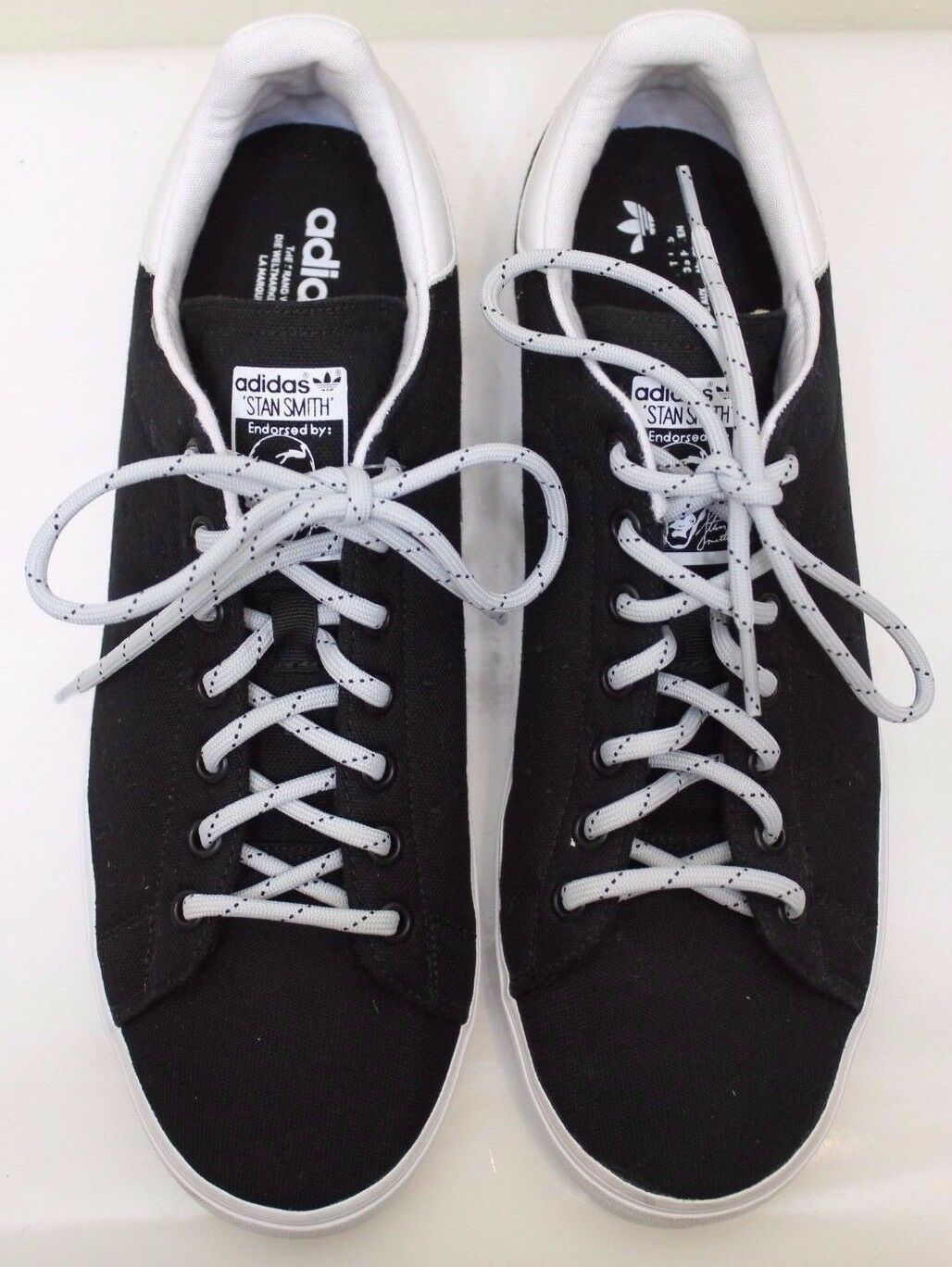 reputable site d1063 3eb53 lovely New Black Adidas Stan Smith Canvas Men Shoes Sz 12 Limited Edition  Lace Up