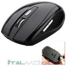 Mouse Ottico Senza Fili Wireless USB per Notebook PC Computer 1600 DPI 2,4G Nero