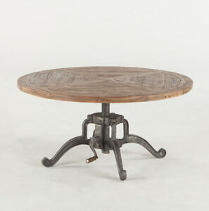 42 Round Adjustable Height Industrial Coffee Table