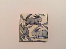 William De Morgan Fridge Magnet Ceramic Tile Running Rabbits Kiln Fired Tiles