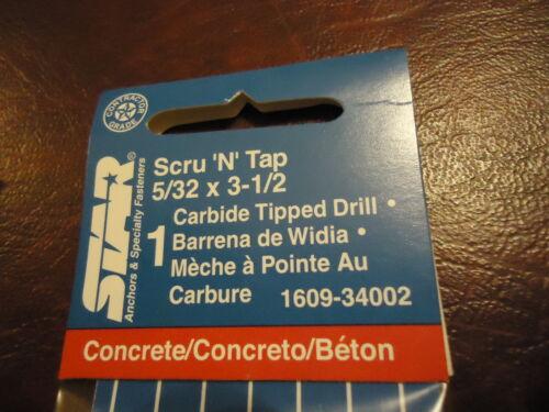 """10 STAR 5//32/"""" CARBIDE CONCRETE DRILL BITS 3 1//2/"""" inch in Length Scru /'N/' Tap"""