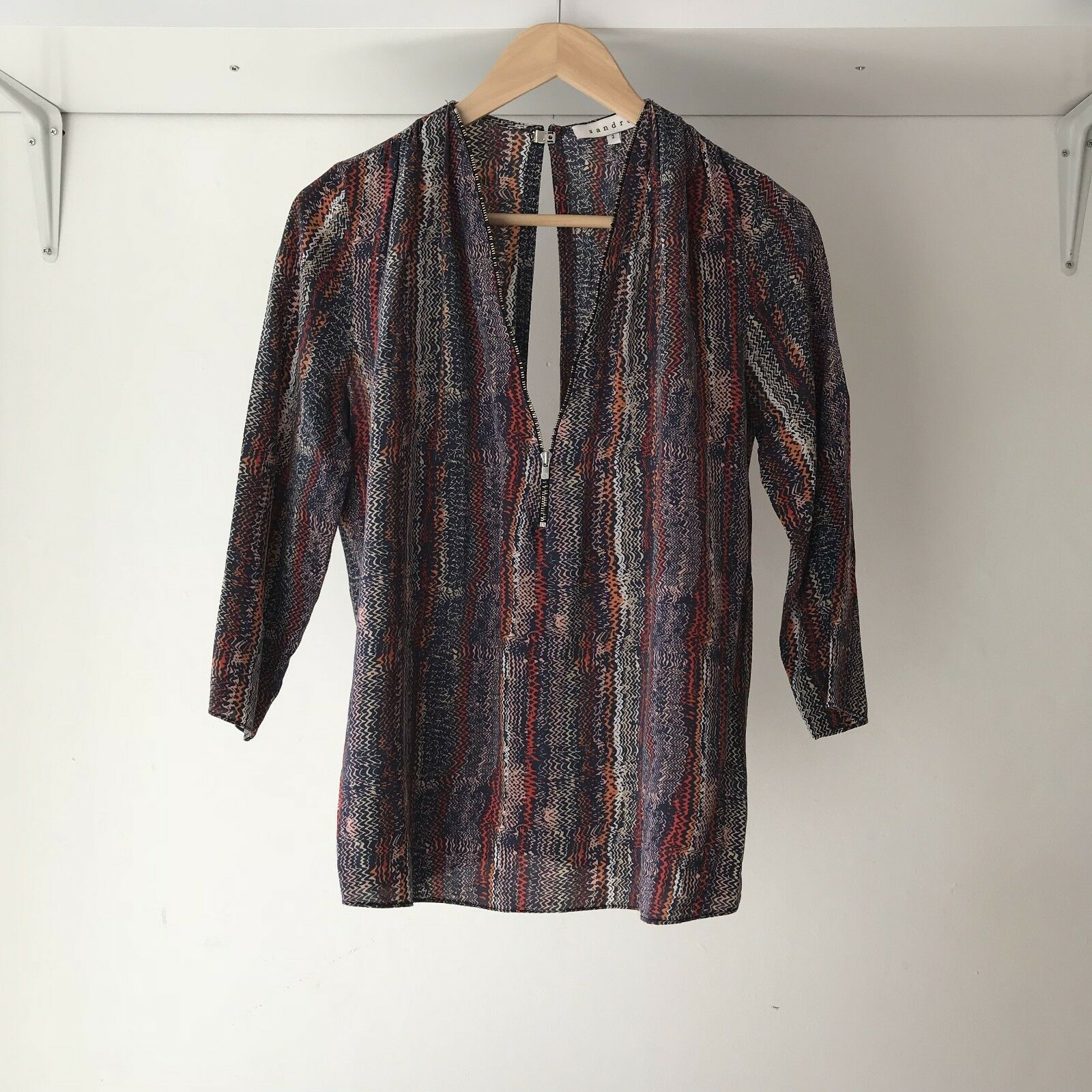 Sandro France Womens 100% Silk Multicolord Long Sleeve Zip front Top, AU Size 6