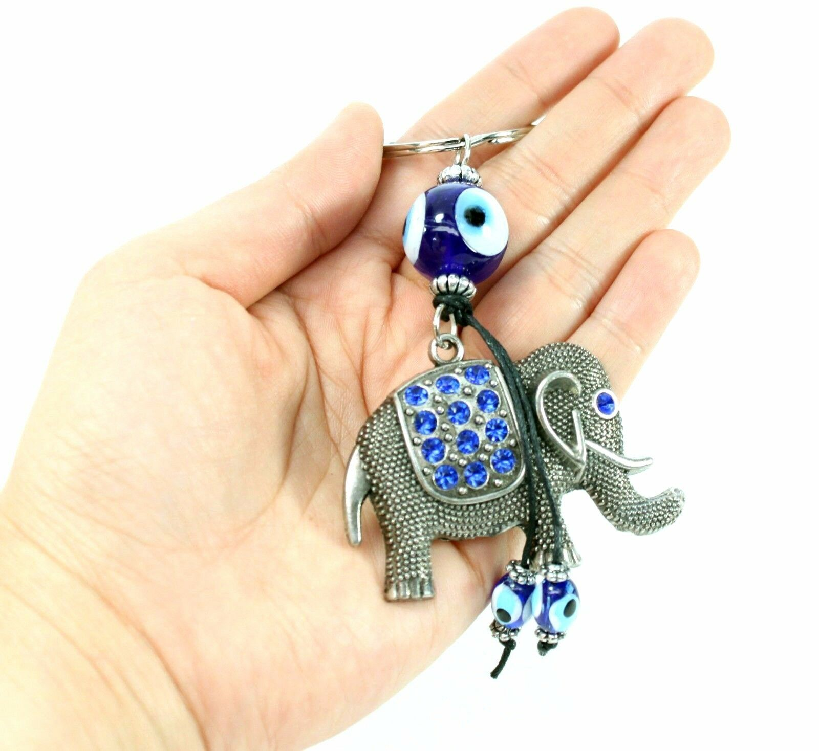 Details about Blue Evil Eye Elephant Keychain Blessing Protection Religious  Gift US Seller