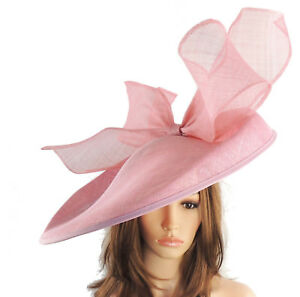 Image is loading Dusky-Pink-Large-Ascot-Hat-for-Weddings-Ascot- cafbf5cad7a