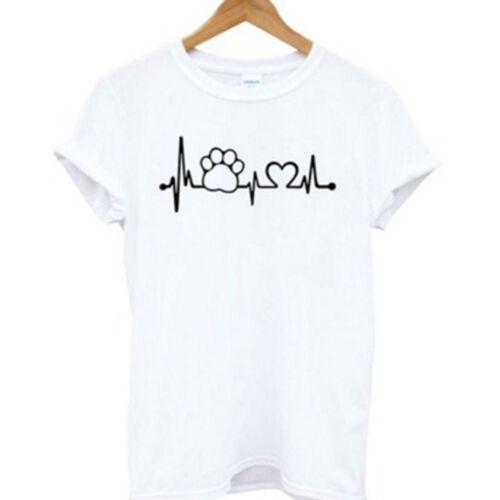 Women Summer Casual Short Sleeve Casual Heart Beat Print T Shirts Blouse S
