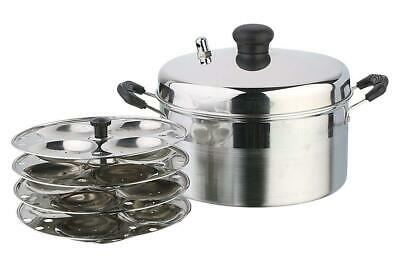 New Pristine Stainless Steel Idli Cooker 21 Cm 4 Plates Induction Use Sophisticated Technologies