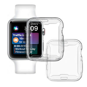timeless design 0c3e5 8feca Details about For Apple Watch Series 4 (44mm) TPU Slim Clear Case Screen  protector Full Cover