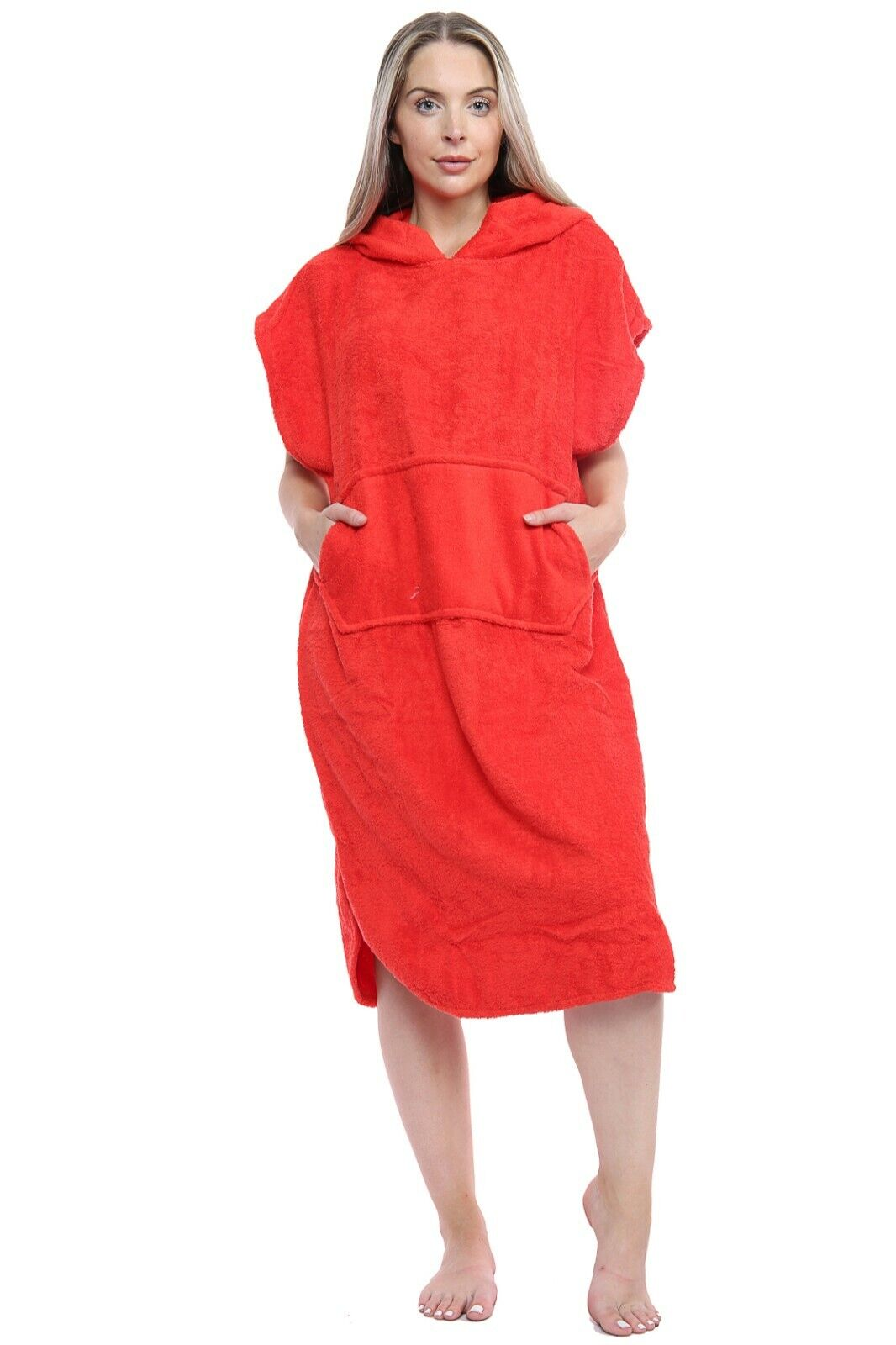 Unisex Changing Robe 100% Cotton Hooded With Pocket Beach Poncho Swimming Surf