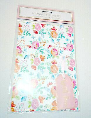 2 Fogli & 2 Etichette Di Carta Da Pacco Regalo Oro Floreale Cottage Garden Con Amore 70x50-
