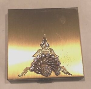 """Vintage Brass """"Volupte"""" Compact Case with Rhinestone Design"""