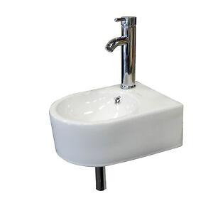 Details about Small Wall Mount Bathroom Sink Ceramic Porcelain Toilet Bowl  Lavatory Washroom