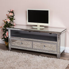 Large Silver Venetian Mirrored Glass 2 Drawer Widescreen TV Unit Stand Cabinet