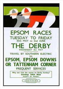 Epsom-Races-Railway-Vintage-Poster-Amazing-Price-Surrey-Holiday-Advert-Picture