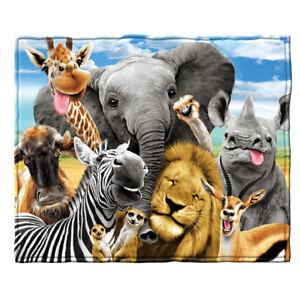 Dawhud-Direct-Safari-Animals-Selfie-Fleece-Throw-Blanket