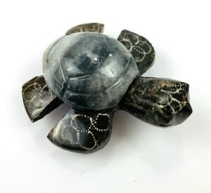 Stone-Hand-Carved-Sea-Turtle-Carving-Figurine-w-Refrigerator-Magnet-Painted-8