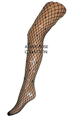UK fast postage wide hole diamond black fishnet tights fishnets BNWT