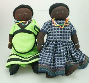 Handmade-Pair-of-Dark-Skinned-Dolls-possibly-Zulu-with-Beadwork-amp-Clothes-KC489