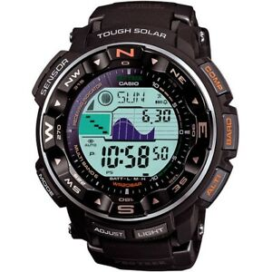 Casio-Pro-Trek-Men-039-s-Solar-Atomic-Black-Resin-Band-50-5mm-Watch-PRW2500R-1