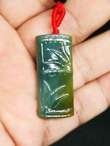 Ice-Green-Yellow-Burmese-Jadeite-Jade-Bamboo-Knot-Pendant