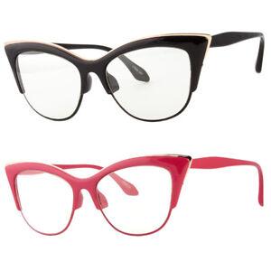 6b0b21ccf4 Large Cat Eye Clear Lens Glasses Metal rims 50s Vintage Women Retro ...