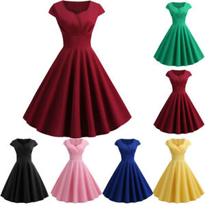 Women-Vintage-Short-Sleeve-Solid-Casual-Evening-Party-Prom-Swing-Dress