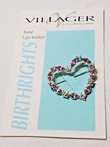 Heart-Pin-Villager-Birthrights-Pin-June-light-Amethyst-Pin-Vintage