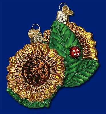 GARDEN SUNFLOWER OLD WORLD CHRISTMAS GLASS FLOWER GARDEN ORNAMENT NWT 36124