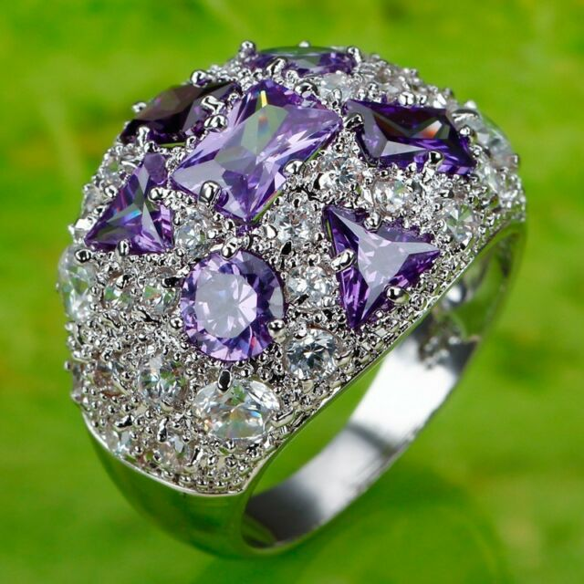 Best Selling Noble Amethyst White Topaz Gemstone Silver Ring Size 6 7 8 9 10 11