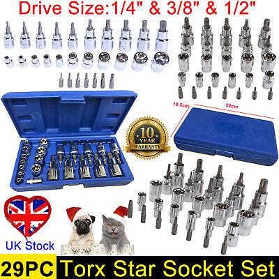 """29PC Torx Torque Tork STAR SET E-TORX SECURITY BITS 1/4""""3/8""""1/2"""" Sockets BIT NEW"""