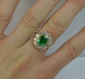1-80-Ct-Emerald-amp-Diamond-Cluster-Art-Deco-Vintage-Ring-14K-Yellow-Gold-Finish
