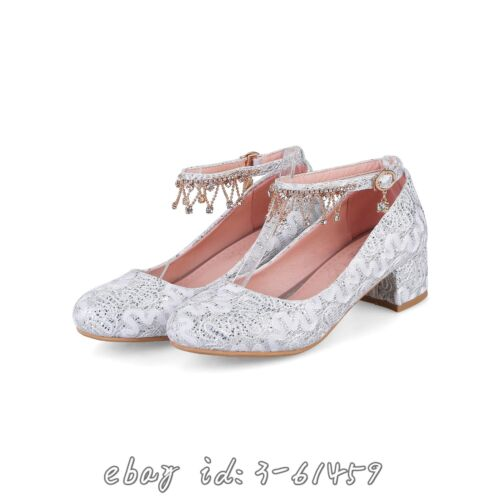 Braut Schuhe Damenmode Halbschuhe Riemenschuhe Mittel Blockabsatze Perle NEU top