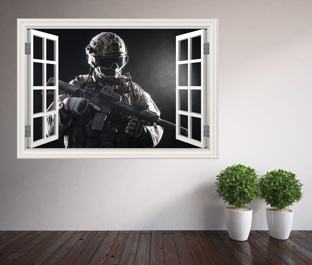 Militare Soldato Battle Ready Finestra Adesivo da Parete Murale (35097648ww)