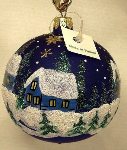Details about  /Blue Ball w//Shooting Star//Town//Church Blown Glass Christmas Tree Ornament Poland