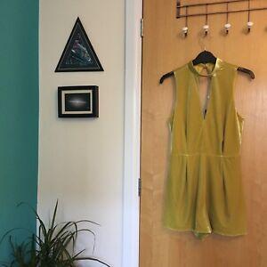 Bnwt Topshop Yellow Size 8 Petite Playsuit Velvet wYgvTx