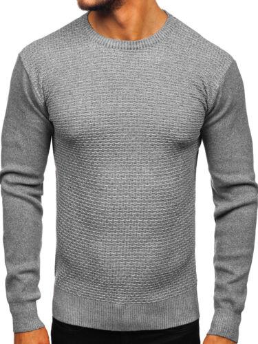 Strickjacke Pullover Strickpullover Sweater Unifarben Herren BOLF 5E5 Rundhals