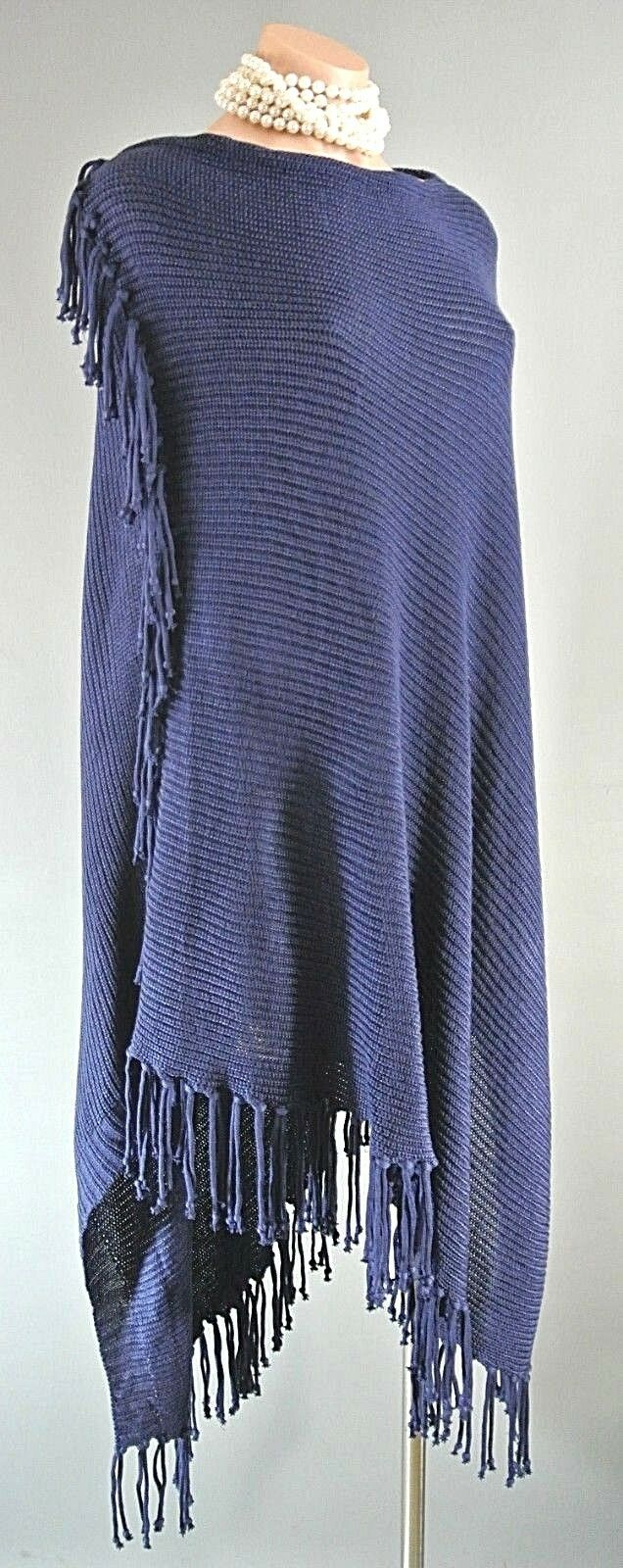 BCBG MAXAZRIA Navy Blau Long Fringes Knit PANCHO Cover up CAPE