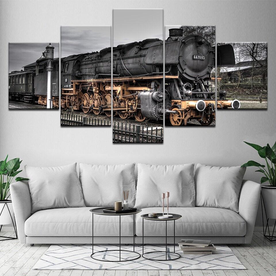 Vintage Locomotive Steam Train 5 Piece Canvas Print Wall Art