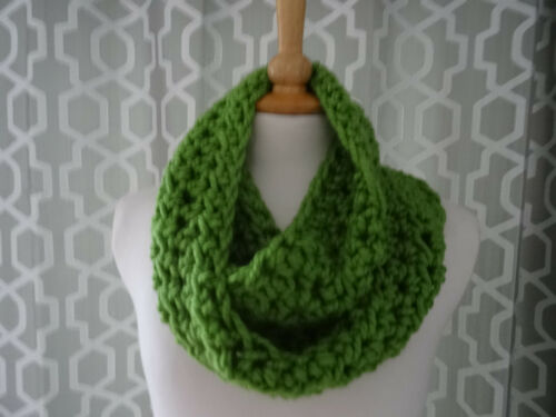 super chunky infinity scarf //snood  hand crafted crochet apple green warm scarf