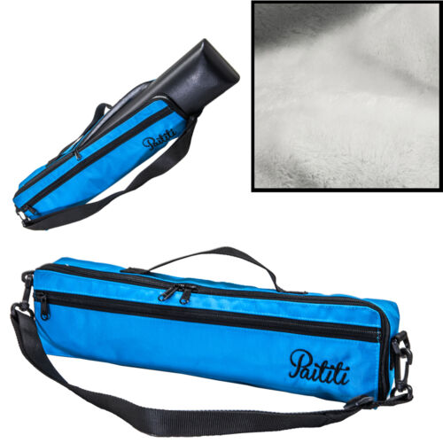 Paititi Brand New C Flute Hard Case Cover w Side Pocket//Handle//Strap Blue Color