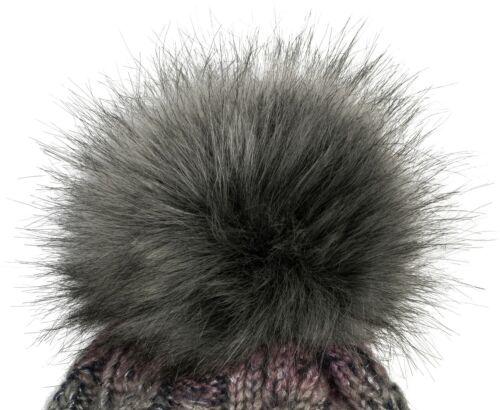 Damen Strick Bommelmütze Zopfmuster Pailletten Fleece Winter Fellbommel Mütze